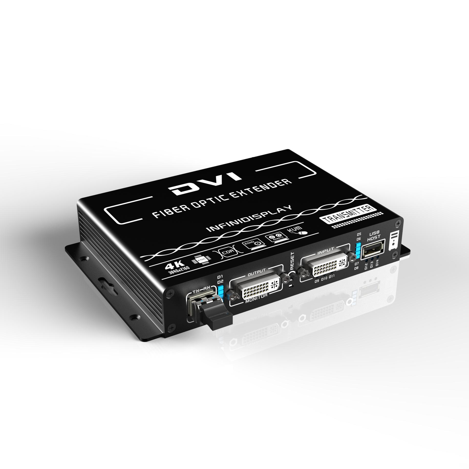 武汉4K超高清DVI KVM光纤延长器+环出+正向音频+远程开关机(EDID透传)