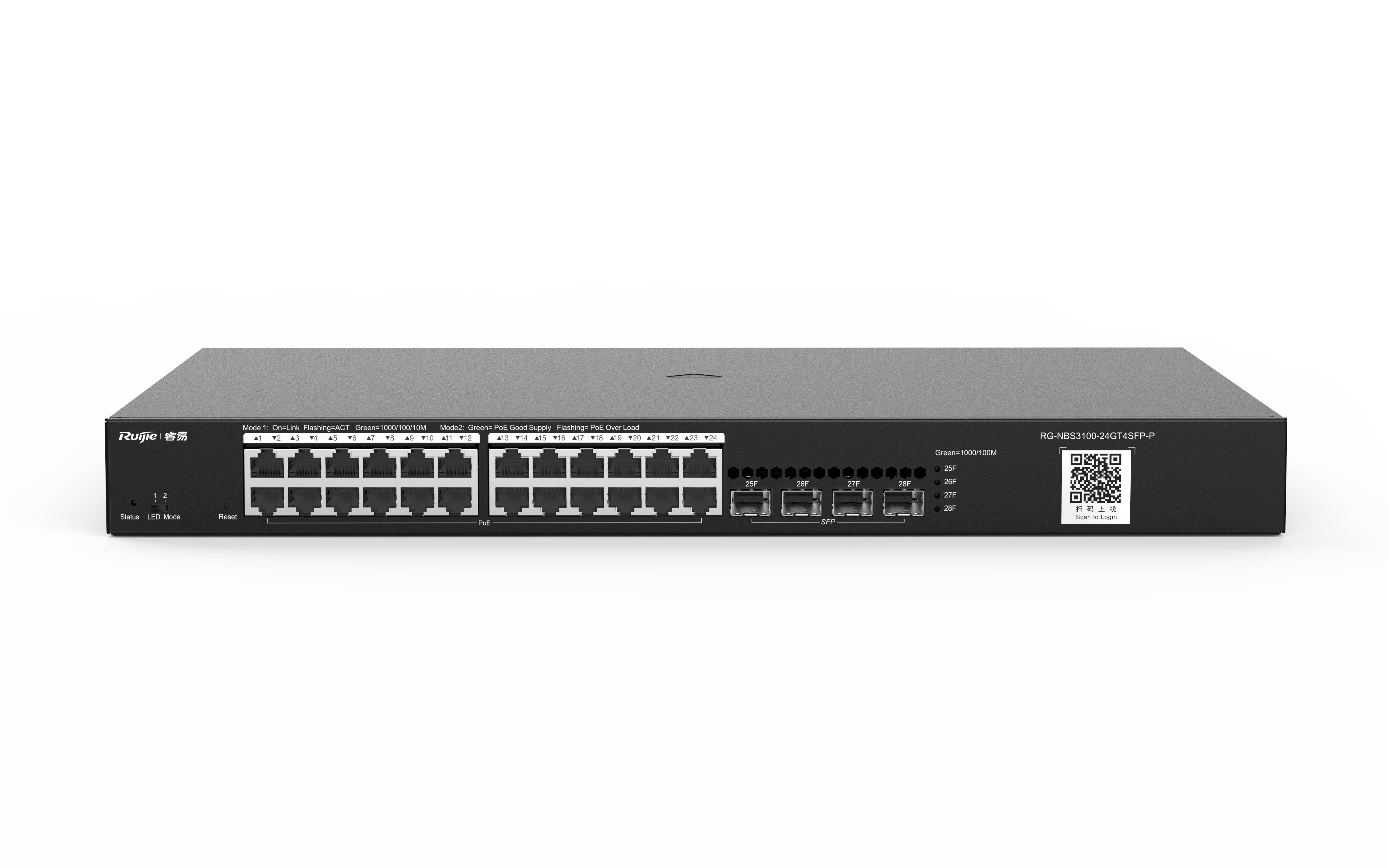 RG-NBS3100-24GT4SFP-P24口千兆接入千兆上联二层网管PoE交换机